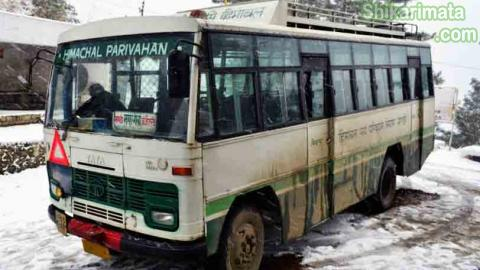 HRTC-Bus to janjehli from Mandi-Snow-Operations-Himachal-Roadways